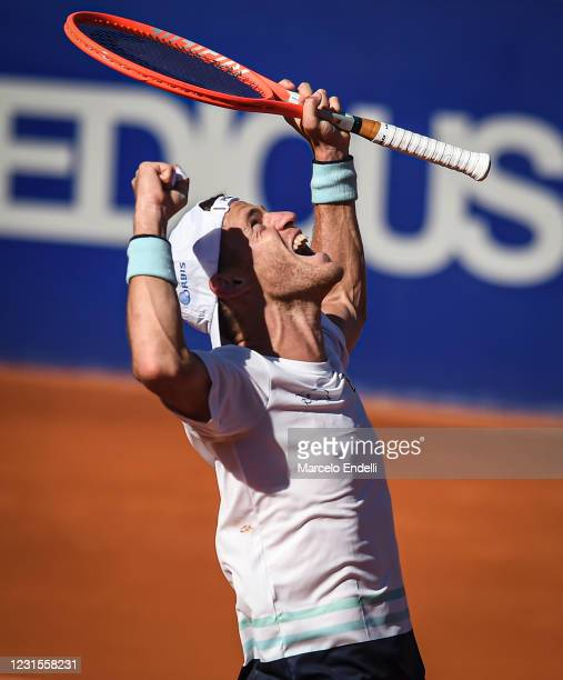 Diego Schwartzman of Argentina celebrates after winning the second semifinal match against Miomir Kecmanovic of Serbia during day 6 of ATP Buenos...