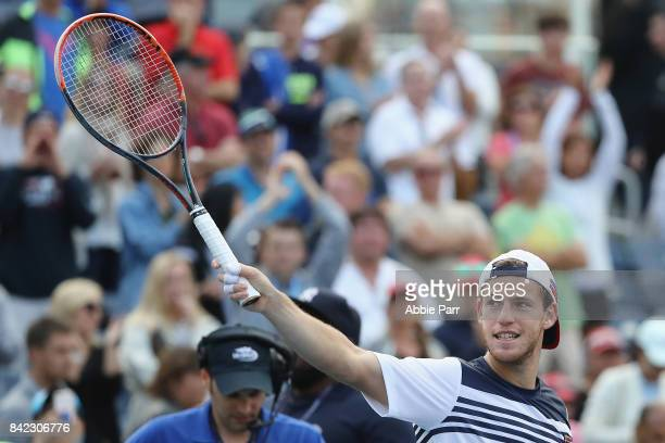 Diego Schwartzman of Argentina celebrates his men's singles fourth round match win over Lucas Pouille of France on Day Seven of the 2017 US Open at...