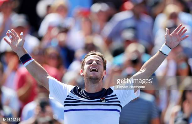 Diego Schwartzman of Argentina celebrates his third round victory over Marin Cilic of Croatia on Day Five of the 2017 US Open at the USTA Billie Jean...