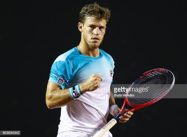 Diego Schwartzman of Argentina celebrates the victory against Gael Monfils of France during the quarter finals of the ATP Rio Open 2018 at Jockey...