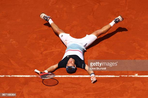 Diego Schwartzman of Argentina celebrates victory during his mens singles fourth round match against Kevin Anderson of South Africa during day nine...