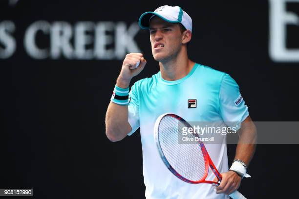 Diego Schwartzman of Argentina celebrates winning a point in his fourth round match against Rafael Nadal of Spain on day seven of the 2018 Australian...
