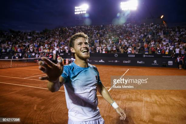 Diego Schwartzman of Argentina celebrates winning against Fernando Verdasco of Spain after the singles final of the ATP Rio Open 2018 at Jockey Club...