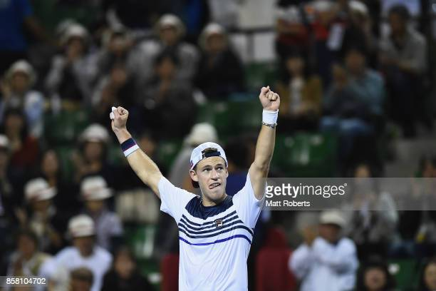 Diego Schwartzman of Argentina celebrates winning his quarterfinal match against Steve Johnson of the USA during day five of the Rakuten Open at...