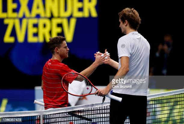 Diego Schwartzman of Argentina congratulates Alexander Zverev of Germany after their singles match on Day 4 of the Nitto ATP World Tour Finals at The...