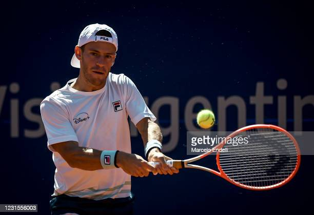 Diego Schwartzman of Argentina hits a backhand during a match against Miomir Kecmanovic of Serbia with a part of second semifinal during day 6 of ATP...