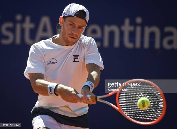 Diego Schwartzman of Argentina hits a backhand during Men's Singles Final match against Francisco Cerundolo of Argentina as part of day 7 of ATP...