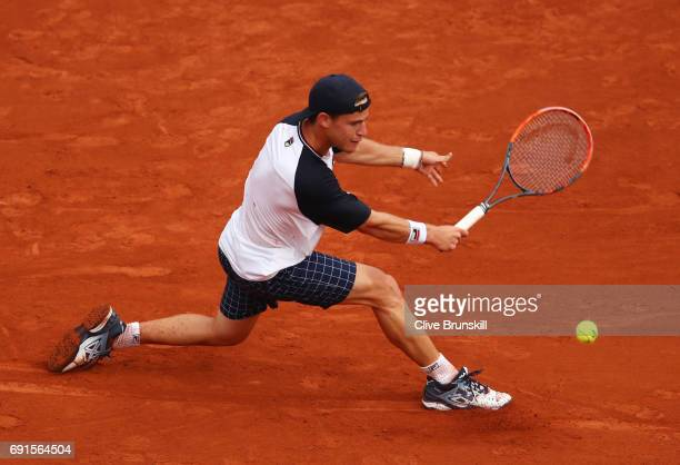 Diego Schwartzman of Argentina hits a backhand during the men's singles third round match against Novak Djokovic of Serbia on day six of the 2017...