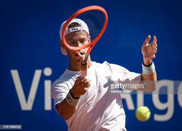 Diego Schwartzman of Argentina hits a forehand during a match against Miomir Kecmanovic of Serbia with a part of second semifinal during day 6 of ATP...