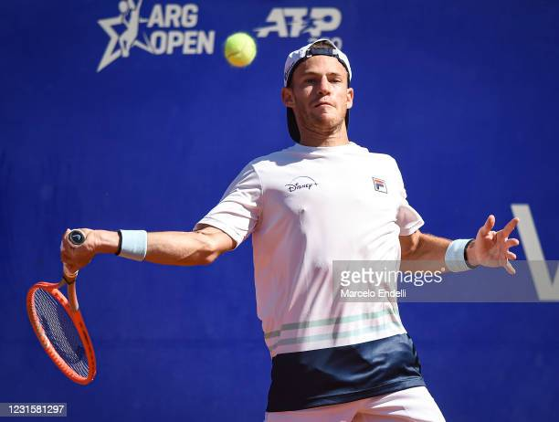 Diego Schwartzman of Argentina hits a forehand during Men's Singles Final match against Francisco Cerundolo of Argentina as part of day 7 of ATP...