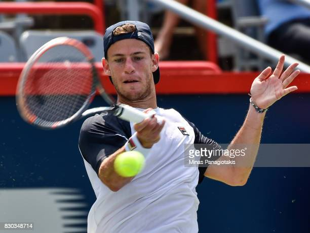 Diego Schwartzman of Argentina hits a return against Robin Haase of Netherlands during day eight of the Rogers Cup presented by National Bank at...