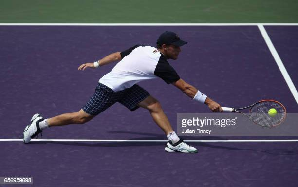 Diego Schwartzman of Argentina in action against Karen Khachanov of Russia at Crandon Park Tennis Center on March 23 2017 in Key Biscayne Florida