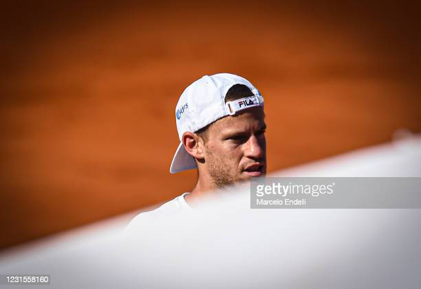 Diego Schwartzman of Argentina looks on during a match against Miomir Kecmanovic of Serbia with a part of second semifinal during day 6 of ATP Buenos...