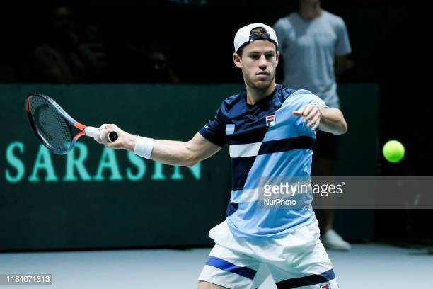 Diego Schwartzman of Argentina on during his quarter final match against Rafa Nadal of Spain on Day Five of the 2019 Davis Cup at La Caja Magica on...