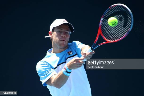 Diego Schwartzman of Argentina plays a backhand in his first round match against Rudolf Molleker of Germany during day one of the 2019 Australian...