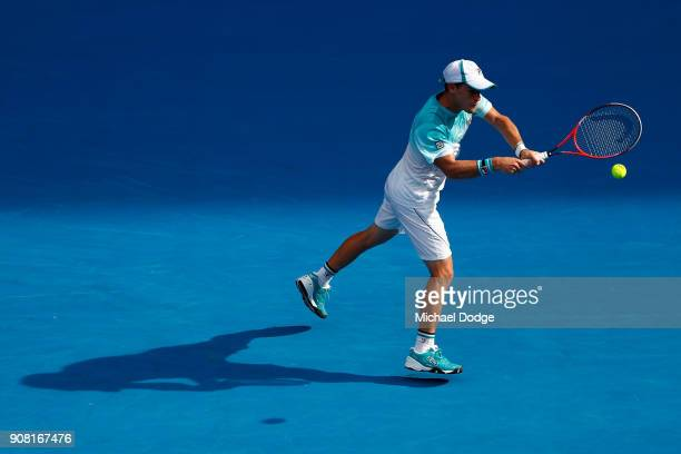 Diego Schwartzman of Argentina plays a backhand in his fourth round match against Rafael Nadal of Spain on day seven of the 2018 Australian Open at...
