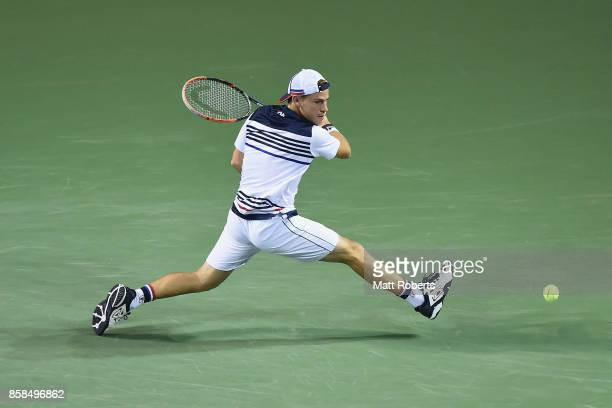 Diego Schwartzman of Argentina plays a backhand in his semi final match against David Goffin of Belgium during day six of the Rakuten Open at Ariake...