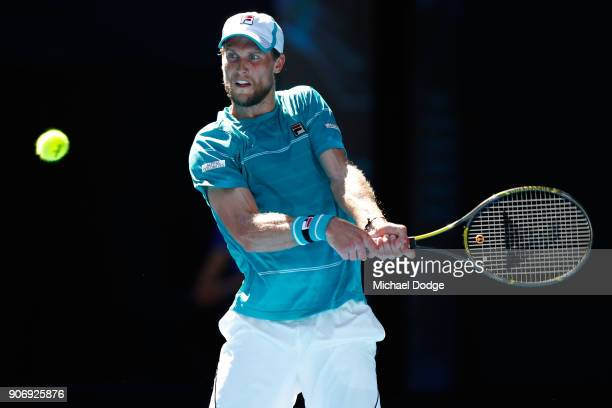 Diego Schwartzman of Argentina plays a backhand in his third round match against Alexandr Dolgopolov of Ukraine on day five of the 2018 Australian...