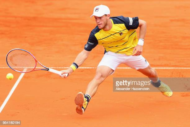 Diego Schwartzman of Argentina plays a fore hand during his 2nd round match against Maximilian Marterer of Germany on day 6 of the BMW Open by FWU at...