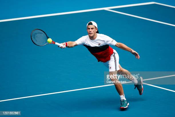 Diego Schwartzman of Argentina plays a forehand during his Men's Singles third round match against Dusan Lajovic of Serbia on day five of the 2020...