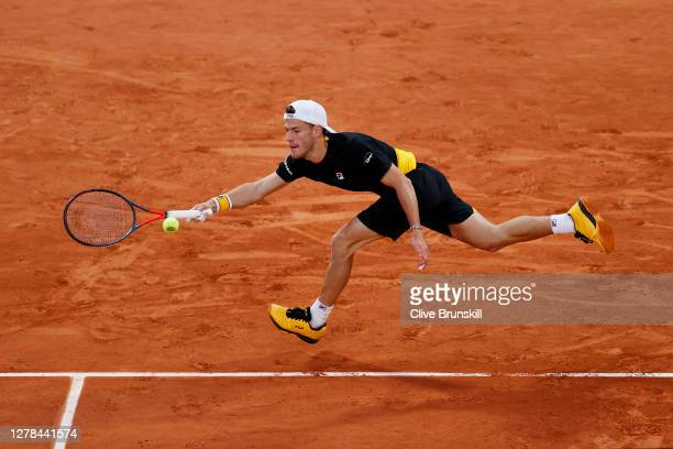 Diego Schwartzman of Argentina plays a forehand during his Men's Singles fourth round match against Lorenzo Sonego of Italy on day eight of the 2020...