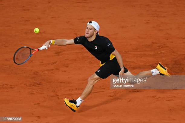 Diego Schwartzman of Argentina plays a forehand during his Men's Singles quarterfinals match against Dominic Thiem of Austria on day ten of the 2020...