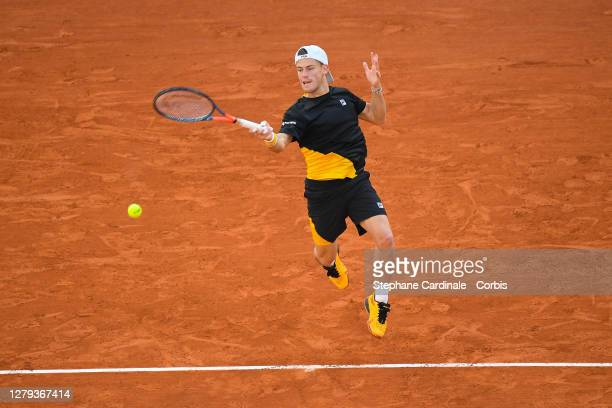 Diego Schwartzman of Argentina plays a forehand during his Men's Singles semifinals match against Rafael Nadal of Spain on day thirteen of the 2020...