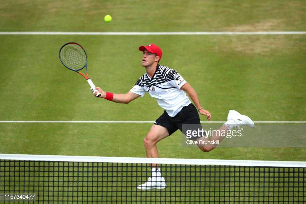 Diego Schwartzman of Argentina plays a forehand during his QuarterFinal Singles Match against Daniil Medvedev of Russia during day Five of the...