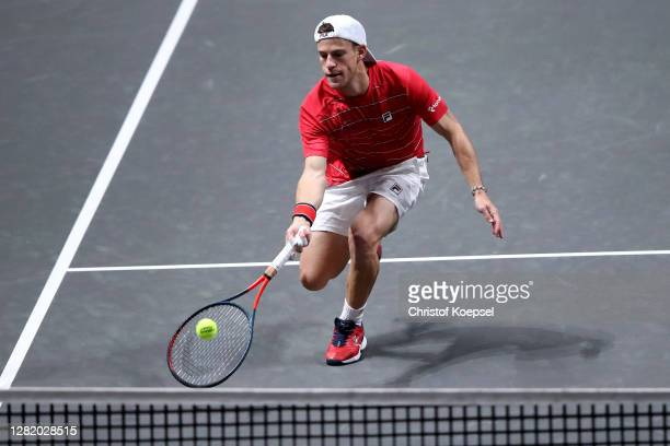 Diego Schwartzman of Argentina plays a forehand during the semi final match between Felix Auger-Aliassime of Canada and Diego Schwartzman of...