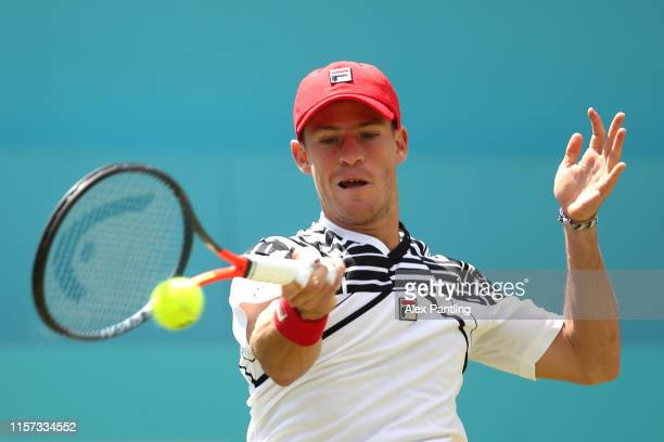 Diego Schwartzman of Argentina plays a forehand his QuarterFinal Singles Match against Daniil Medvedev of Russia during day Five of the FeverTree...