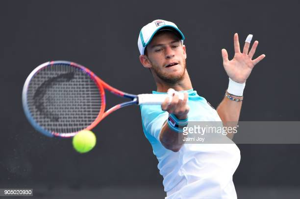 Diego Schwartzman of Argentina plays a forehand in his first round match against Dusan Lajovic of Serbia on day one of the 2018 Australian Open at...