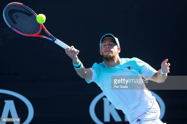 Diego Schwartzman of Argentina plays a forehand in his second round match against Casper Ruud of Norway on day three of the 2018 Australian Open at...