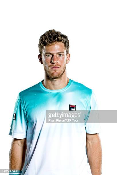 Diego Schwartzman of Argentina poses for portraits during the Australian Open at Melbourne Park on January 12 2018 in Melbourne Australia