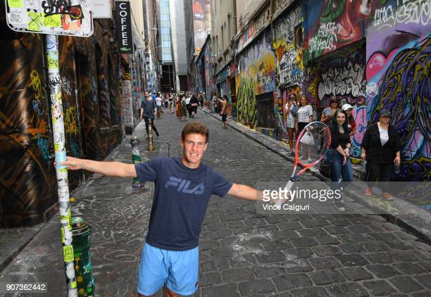 Diego Schwartzman of Argentina poses in Hosier Lane during day six of the 2018 Australian Open at Melbourne Park on January 20 2018 in Melbourne...