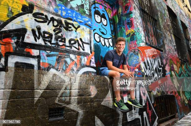 Diego Schwartzman of Argentina poses in Hosier Lane during day six of the 2018 Australian Open at Melbourne Park on January 20, 2018 in Melbourne,...