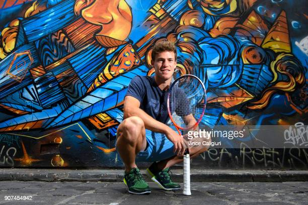 Diego Schwartzman of Argentina poses in Hosier Lane Melbournes famous street art laneway during day six of the 2018 Australian Open at Melbourne Park...