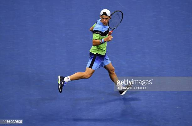 Diego Schwartzman of Argentina reacts after a point against Rafael Nadal of Spain during their Men's Singles Quarterfinals match at the 2019 US Open...