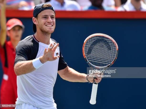 Diego Schwartzman of Argentina reacts after losing a point against Robin Haase of Netherlands during day eight of the Rogers Cup presented by...