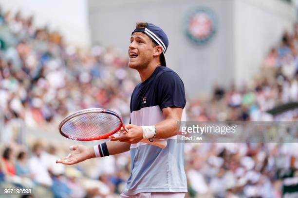 Diego Schwartzman of Argentina reacts during his men's singles fourth round match against Kevin Anderson of South Africa during day nine of the 2018...