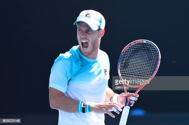Diego Schwartzman of Argentina reacts in his first round match against Dusan Lajovic of Serbia on day one of the 2018 Australian Open at Melbourne...