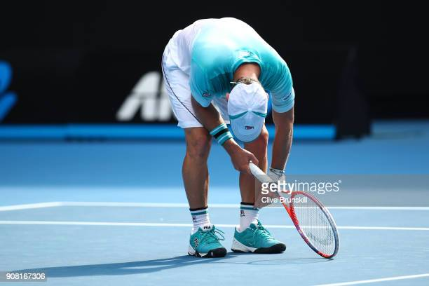 Diego Schwartzman of Argentina reacts in his fourth round match against Rafael Nadal of Spain on day seven of the 2018 Australian Open at Melbourne...