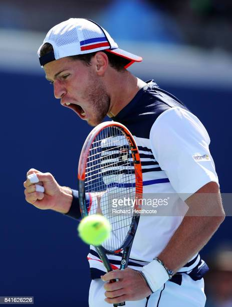 Diego Schwartzman of Argentina reacts in his third round match against Marin Cilic of Croatia on Day Five of the 2017 US Open at the USTA Billie Jean...