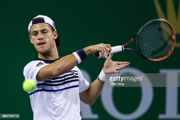 Diego Schwartzman of Argentina returns a shot during the Men's singles mach against Roger Federer of Switzerland on day 4 of 2017 ATP Shanghai Rolex...