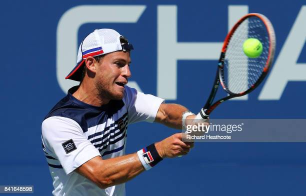 Diego Schwartzman of Argentina returns a shot in his third round match against Marin Cilic of Croatia on Day Five of the 2017 US Open at the USTA...