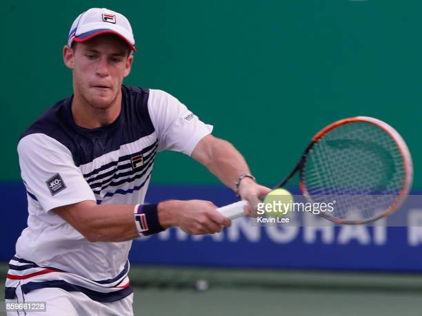 Diego Schwartzman of Argentina returns a shot to Jordan Thompson of Australia during Round 1 of Men's Single on Day 3 of 2017 ATP Shanghai Rolex...
