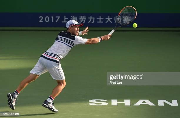 Diego Schwartzman of Argentina returns a shot to Jordan Thompson of Australia during Round 1 of Men's Single on Day 3 of 2017 ATP Shanghai Rolex...