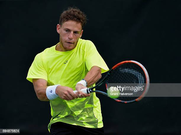 Diego Schwartzman of Argentina returns a shot to YenHsun Lu of Chinese Taipei during the WinstonSalem Open at Wake Forest University on August 24...