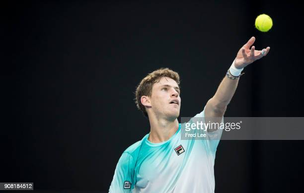 Diego Schwartzman of Argentina serves a point in his fourth round match against Rafael Nadal of Spain on day seven of the 2018 Australian Open at...