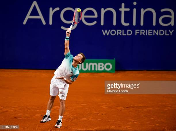 Diego Schwartzman of Argentina serves during a second round match between Diego Schwartzman of Argentina and Thomaz Bellucci of Brazil as part of ATP...