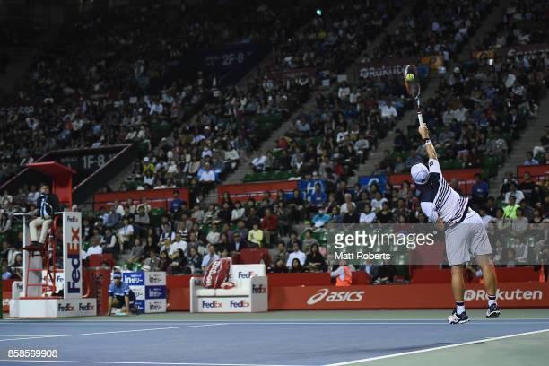 Diego Schwartzman of Argentina serves in his semi final match against David Goffin of Belgium during day six of the Rakuten Open at Ariake Coliseum...